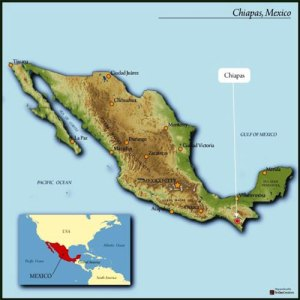 map of Mexico, highlighting Chiapas