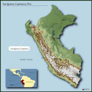 map of Peru, highlighting San Ignacio