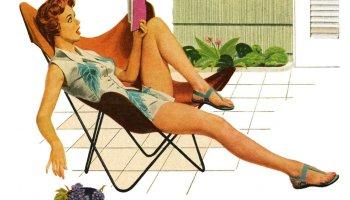Ilustración de mujer sentada leyendo