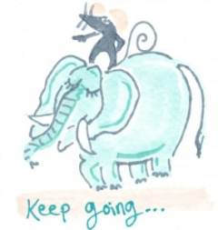 Mouse riding elephant - keep going