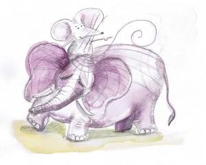 Mouse (conscious mind) riding elephant (subconscious mind)
