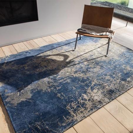 tapis de salon design mad men cracks bleu par louis de poortere