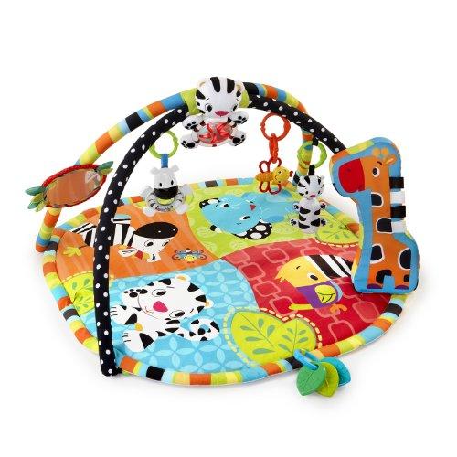 bright starts tapis d eveil safari spots stripes avec arche de jeu lumieres melodies miroirs et jouets pour bebes