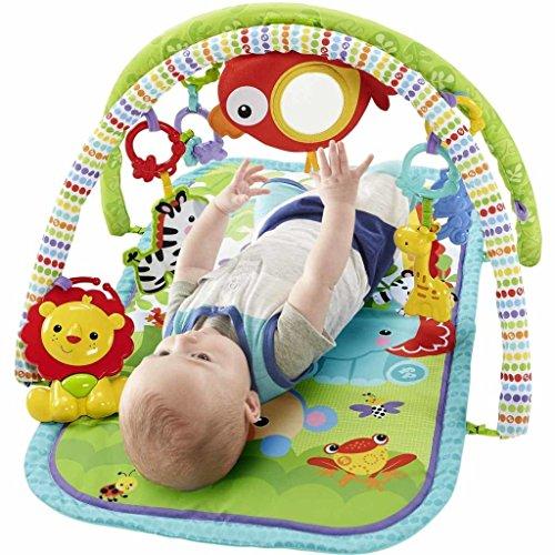 fisher price amis de la jungle 3 en 1 tapis d eveil musical pour bebe transportable 2 arches de jeu 5 jouets