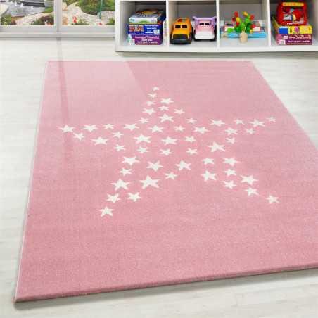 https www tapislux com fr tapis enfant bebe 1058 tapis enfant chambre de bebe motif etoiles rose blanc html