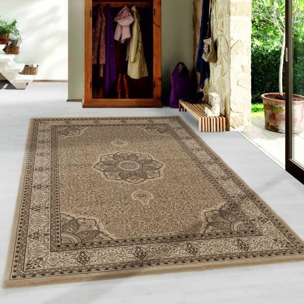 tapis de salon oriental a poil ras motif de bordure ornement beige grosse 80x150 cm
