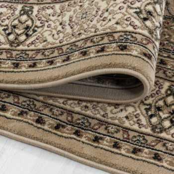 tapis de salon oriental a poil ras motif de bordure ornement beige