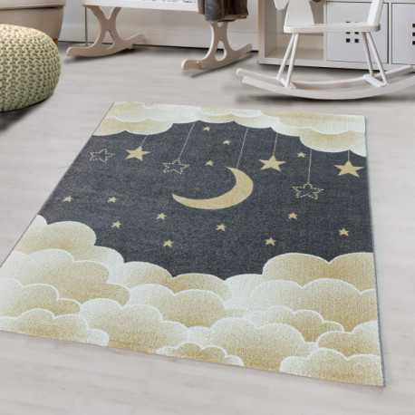 tapis pour enfants a poil ras motif de etoile nuage lune jaune