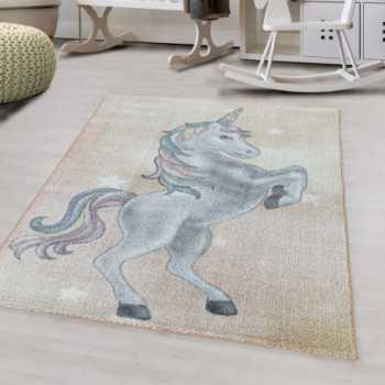 tapis pour enfants a poil ras motif de licorne etoile jaune