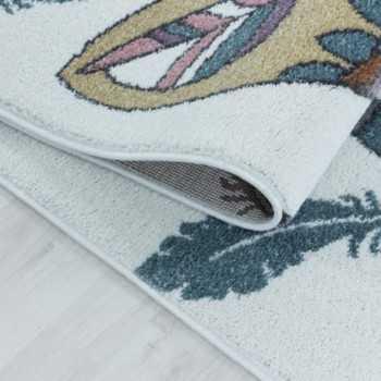 tapis pour enfants a poil ras motif de indiens ours plume violet