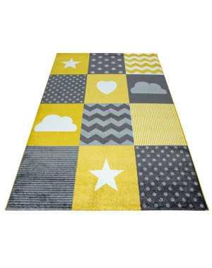 tapis pour chambre d enfants a carreaux nuage etoiles gris jaune blanc