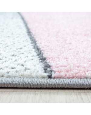 tapis design moderne motifs geometriques poils courte gris rose blanc