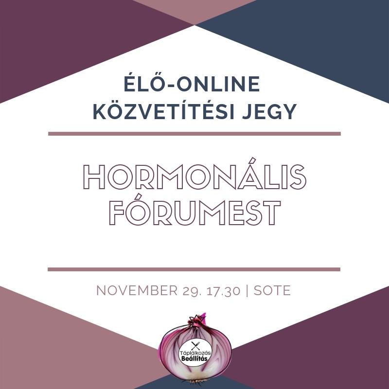 ÉLŐ-ONLINE KÖZVETÍTÉSI JEGY: Átfogó Hormonális Fórumest 2018.11.29.