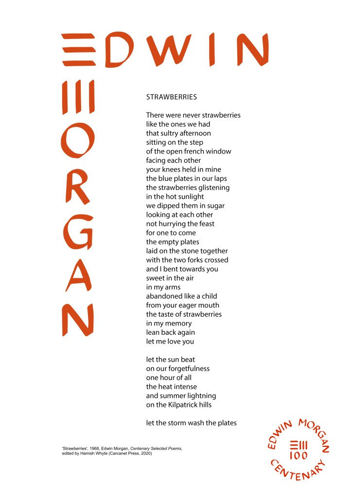 Strawberries by Edwin Morgan (the Edwin Morgan Trust)