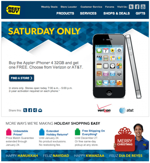 if youre in the market for a new iphone or free phones bestbuy has announced a pretty darn good christmas eve deal on the 32gb iphone 4 offering buy one - Best Buy Christmas Eve Hours