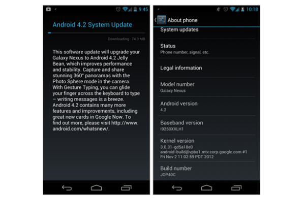 Android 4.2 Galaxy Nexus update