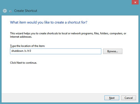 Windows 8 Create Shortcut