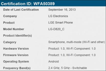 Nexus 5-C WiFi Certification