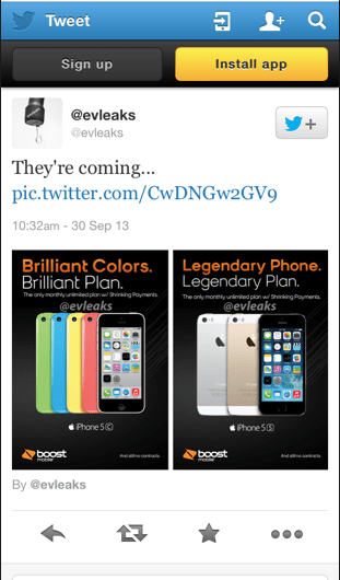 iPhone 5S and iPhone 5C Evleaks Twitter Leak