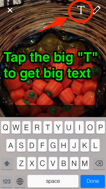 How to toggle big letters on snapchat