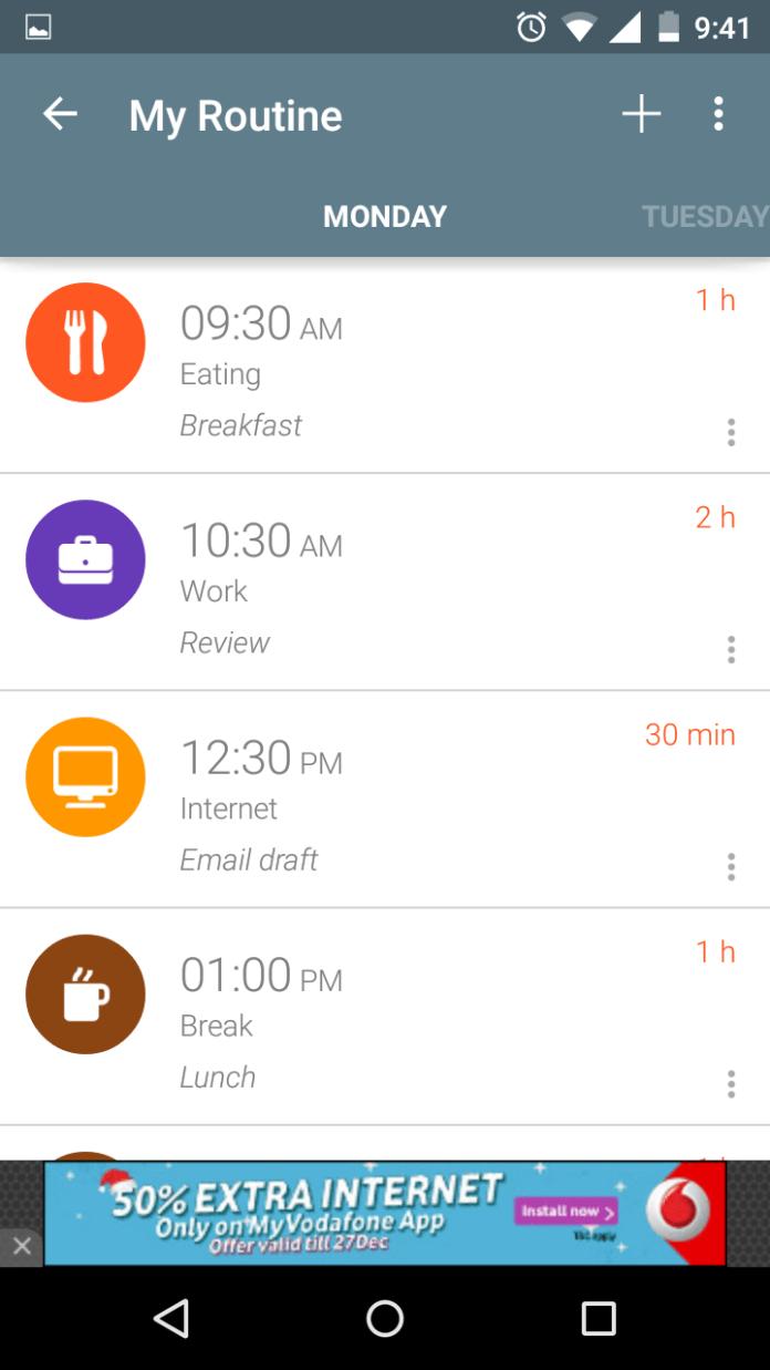 Timetune - Day's routine