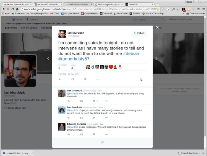 Ian Murdock tweet suggests suicide