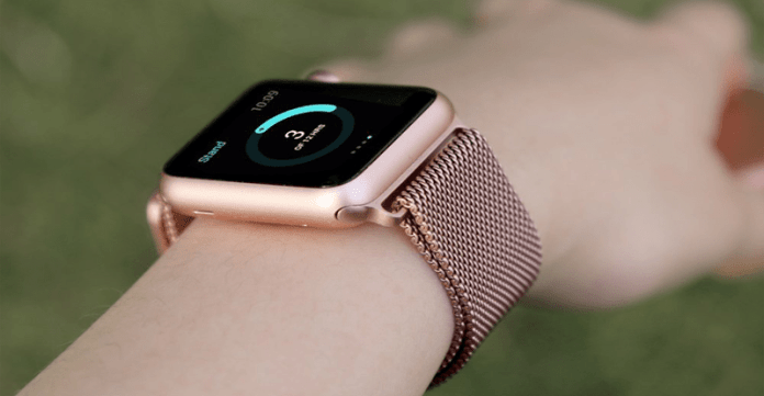 An image of the rose gold Stainless Steel Mesh Milanese Loopapple Apple watch band designed by BRG.