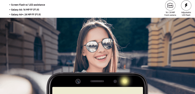 Galaxy A6 and A6 Plus front camera detailed