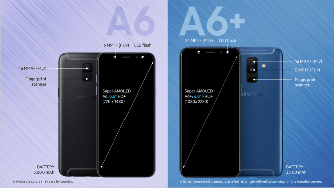 Galaxy A6 and A6 Plus detailed