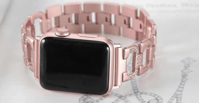 An image of the rose gold Rhinestone Bling Apple watch band designed by Secbolt.