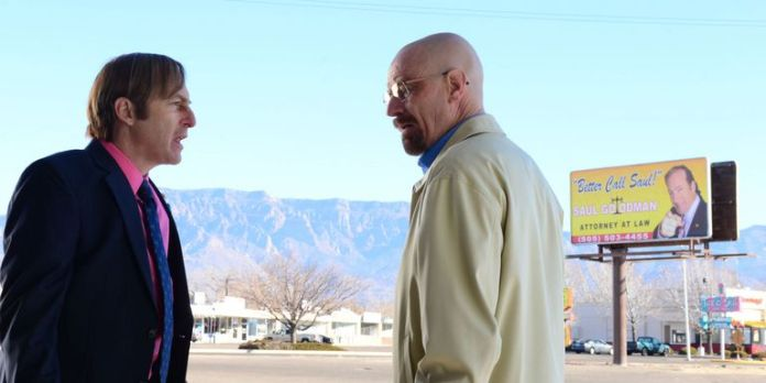 An image of Saul Goodman with Walter White in Breaking Bad