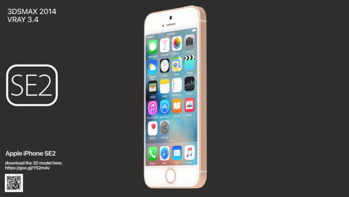 A 3D render of the iPhone SE 2