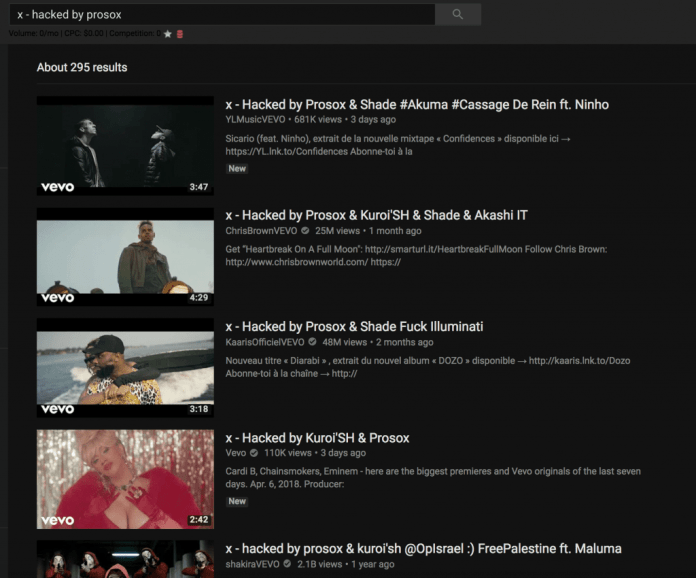 """YouTube channels that have been hacked by Prosox with a """"x – hacked by prosox"""" message"""