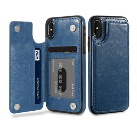 Blue Flip Leather Wallet Case