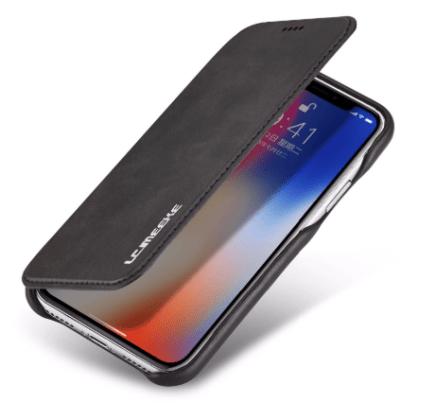 Flip Stand Leather Wallet Case Black Outside 2