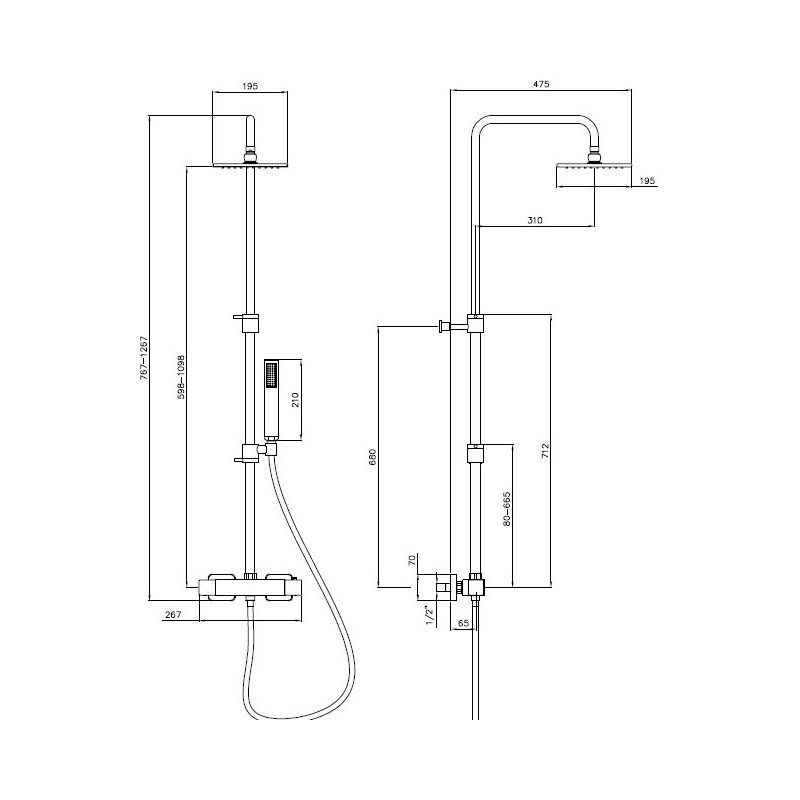Abode Square Wall Mounted Valve with Rigid Riser