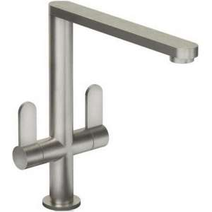 Abode Linear Twin Lever Mono Sink Mixer Brushed Nickel