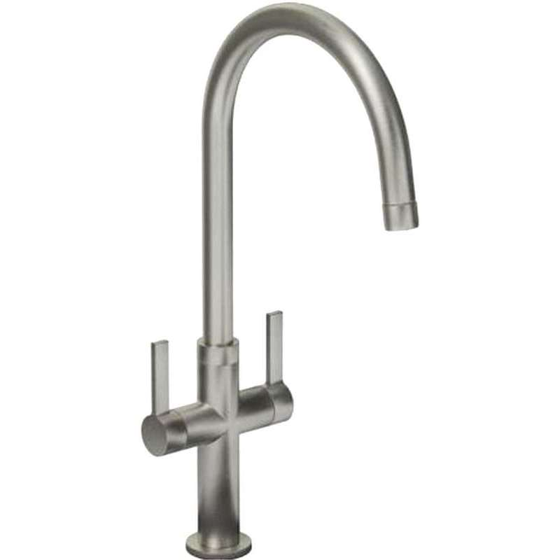 Abode Linear Style Twin Lever Mono Sink Mixer Brushed Nickel
