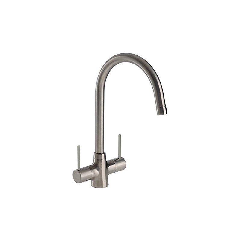 Abode Nexa Twin Lever Mono Sink Mixer Brushed Nickel