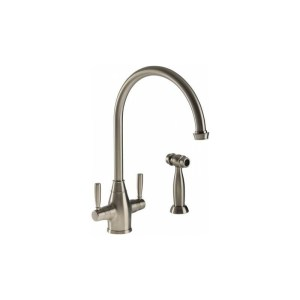 Abode Brompton Mono Sink Mixer with Integrated Handspray Pewter