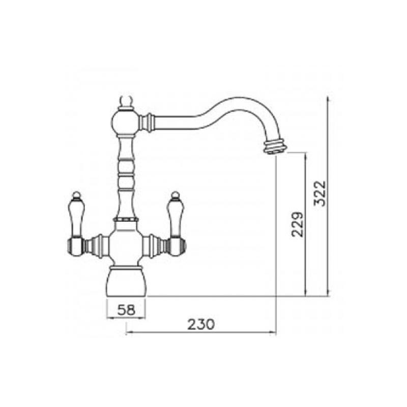 Abode Bayenne Dual Lever Mono Sink Mixer Pewter