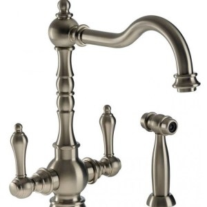 Abode Bayenne Dual Lever Mono Sink Mixer with Handspray Pewter