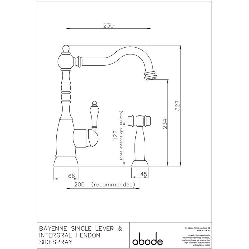 Abode Bayenne Single Lever Mono Sink Mixer with Handspray Pewter