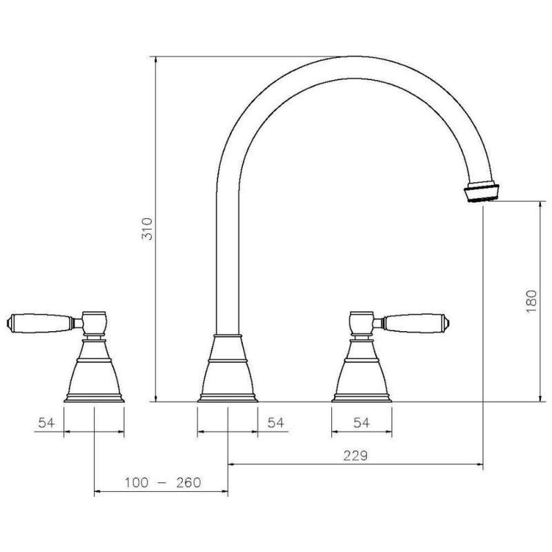Abode Astbury 3 Part Sink Mixer Pewter