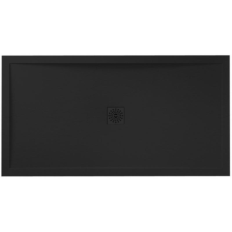 April Waifer Slate Effect Black Shower Tray 1100x800mm