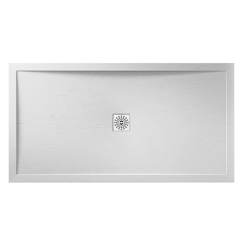 April Waifer Slate Effect White Shower Tray 1100x900mm