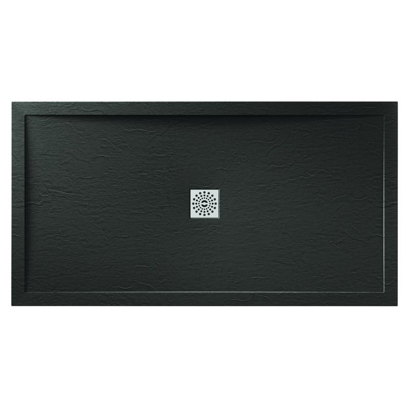 April Waifer Slate Effect Shower Tray 1400x760mm Black