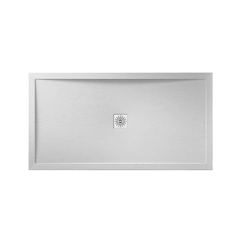 April Waifer Slate Effect Shower Tray 1500x800mm White