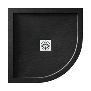 April Waifer Slate Effect Black Shower Tray 800mm Quadrant