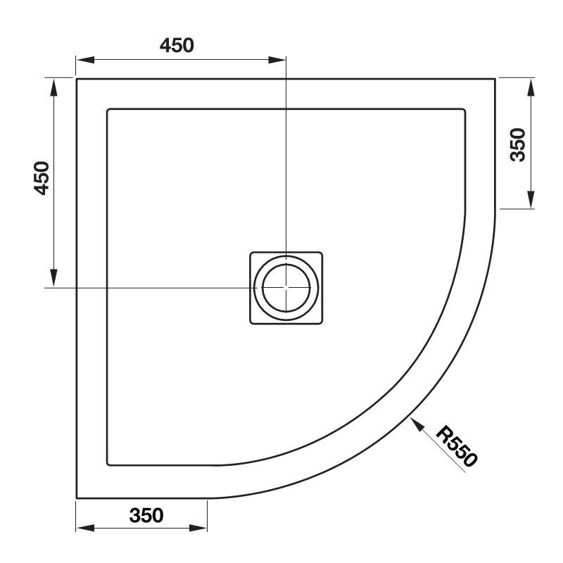 April Waifer Slate Effect White Shower Tray 900mm Quadrant